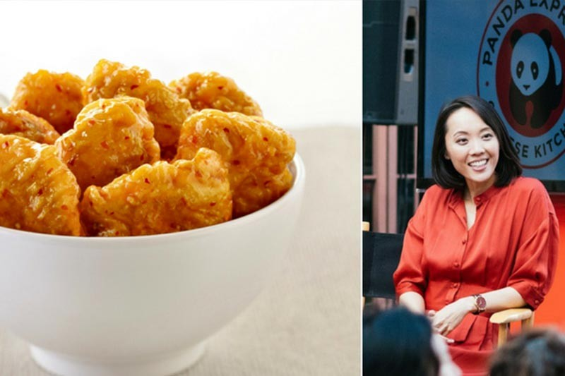 Bowl of orange chicken and photo of Andrea Cherng