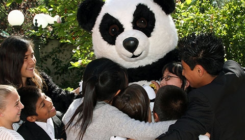 Panda bear with children